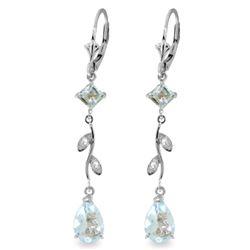 Genuine 3.97 ctw Aquamarine & Diamond Earrings Jewelry 14KT White Gold - REF-56M4T