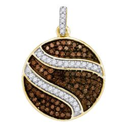 0.75 CTW Cognac-brown Color Diamond Circle Cluster Pendant 10KT Yellow Gold - REF-30M2H
