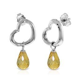 Genuine 4.5 ctw Citrine Earrings Jewelry 14KT White Gold - REF-42A6K