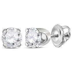 0.49 CTW Diamond Solitaire Stud Earrings 14KT White Gold - REF-52F4N