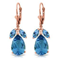 Genuine 13 ctw Blue Topaz Earrings Jewelry 14KT Rose Gold - REF-61K2V