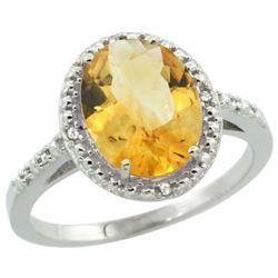 Natural 2.42 ctw Citrine & Diamond Engagement Ring 14K White Gold - REF-34H7W