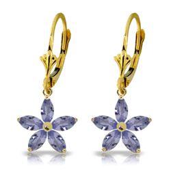 Genuine 2.8 ctw Tanzanite Earrings Jewelry 14KT Yellow Gold - REF-68Y3F