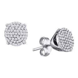 0.13 CTW Diamond Cluster Earrings 10KT White Gold - REF-12H2M
