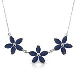 Genuine 5 ctw Sapphire Necklace Jewelry 14KT White Gold - REF-86V3W