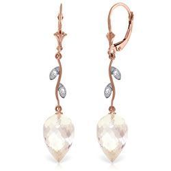 Genuine 24.52 ctw White Topaz & Diamond Earrings Jewelry 14KT Rose Gold - REF-63R8P