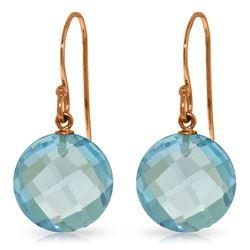 Genuine 12 ctw Blue Topaz Earrings Jewelry 14KT Rose Gold - REF-24T4A