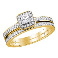 0.69 CTW Princess Diamond Bridal Engagement Ring 10KT Yellow Gold - REF-67H4M