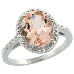 Natural 2.92 ctw Morganite & Diamond Engagement Ring 10K White Gold - REF-49G8M