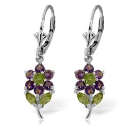 Genuine 2.12 ctw Peridot & Amethyst Earrings Jewelry 14KT White Gold - REF-42K4V