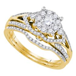 0.75 CTW Diamond Cluster Bridal Engagement Ring 14KT Yellow Gold - REF-112K5W
