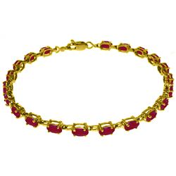 Genuine 8 ctw Ruby Bracelet Jewelry 14KT Yellow Gold - REF-119K7V