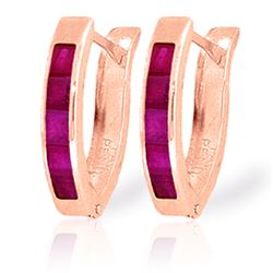 Genuine 1.30 ctw Ruby Earrings Jewelry 14KT Rose Gold - REF-27V2W