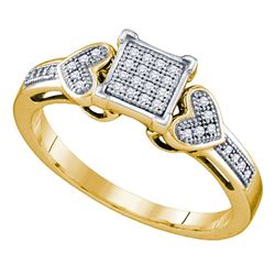 0.10 CTW Diamond Heart Love Cluster Ring 10KT Yellow Gold - REF-14K9W
