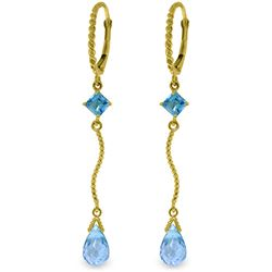 Genuine 3.5 ctw Blue Topaz Earrings Jewelry 14KT Yellow Gold - REF-33V8W