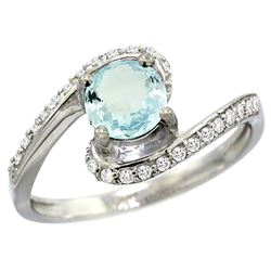 Natural 0.99 ctw aquamarine & Diamond Engagement Ring 14K White Gold - REF-54K9R