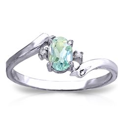 Genuine 0.46 ctw Aquamarine & Diamond Ring Jewelry 14KT White Gold - REF-29Y3F