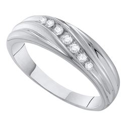 0.16 CTW Mens Diamond Wedding Ring 10KT White Gold - REF-22H4M