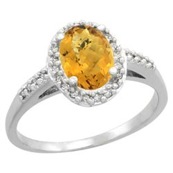 Natural 1.3 ctw Whisky-quartz & Diamond Engagement Ring 14K White Gold - REF-31G7M