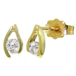 Genuine 0.20 ctw Diamond Anniversary Earrings Jewelry 14KT Yellow Gold - REF-41P2H