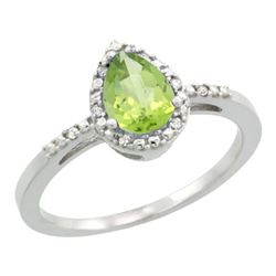 Natural 1.53 ctw peridot & Diamond Engagement Ring 14K White Gold - REF-25K5R