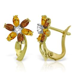Genuine 1.10 ctw Citrine, Garnet & Diamond Earrings Jewelry 14KT Yellow Gold - REF-36P3H