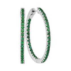 2 CTW Emerald Hoop Earrings 14KT White Gold - REF-97M4H