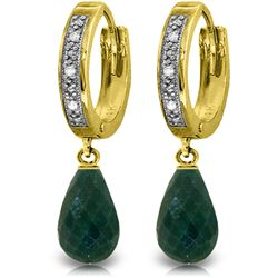 Genuine 6.64 ctw Green Sapphire Corundum & Diamond Earrings Jewelry 14KT Yellow Gold - REF-50P2H