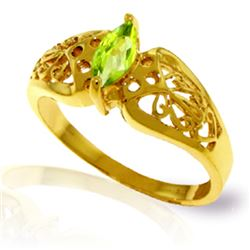 Genuine 0.20 CTW Peridot Ring Jewelry 14KT Yellow Gold - REF-47V2W