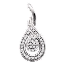 0.10 CTW Diamond Teardrop Pendant 10KT White Gold - REF-13W4K