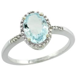 Natural 1.03 ctw Aquamarine & Diamond Engagement Ring 14K White Gold - REF-26H8W