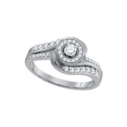 0.48 CTW Diamond Solitaire Swirl Bridal Engagement Ring 10KT White Gold - REF-55K5W