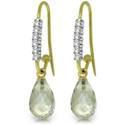 Genuine 4.68 ctw Green Amethyst & Diamond Earrings Jewelry 14KT Yellow Gold - REF-40P7H