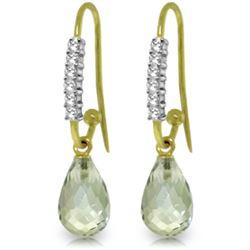 Genuine 4.68 ctw Green Amethyst & Diamond Earrings Jewelry 14KT Yellow Gold - REF-40P7H