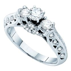 0.75 CTW Diamond 3-stone Bridal Engagement Ring 14KT White Gold - REF-134F9N