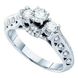 0.75 CTW Diamond 3-stone Bridal Engagement Ring 14KT White Gold - REF-134F9N