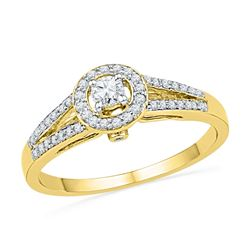 0.25 CTW Diamond Solitaire Split-shank Bridal Ring 10KT Yellow Gold - REF-26W9K