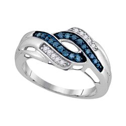 0.25 CTW Blue Color Diamond Ring 10KT White Gold - REF-22N4F