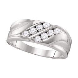 0.50 CTW Mens Diamond Wedding Ring 10KT White Gold - REF-52M4H