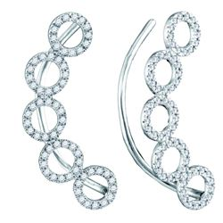 0.33 CTW Diamond Circle Climber Curved Earrings 10KT White Gold - REF-30N2F