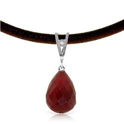 Genuine 15.51 ctw Ruby & Diamond Necklace Jewelry 14KT White Gold - REF-30F2Z