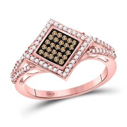 0.33 CTW Red Color Diamond Square Fashion Ring 10KT Rose Gold - REF-26X9Y