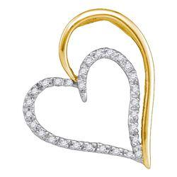 0.12 CTW Diamond Double Heart Pendant 10KT Yellow Gold - REF-12Y2X