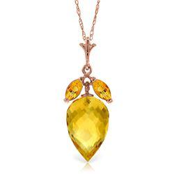 Genuine 10 ctw Citrine Necklace Jewelry 14KT Rose Gold - REF-28Z9N