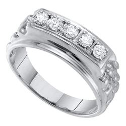 0.50 CTW Mens Masculine Traditional Diamond Nugget Ring 10KT White Gold - REF-52F4N