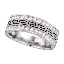 1 CTW Mens Diamond Double Row Grecco Greek Key Wedding Ring 14KT White Gold - REF-112H5M