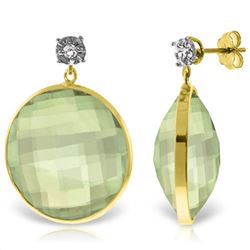 Genuine 36.06 ctw Green Amethyst & Diamond Earrings Jewelry 14KT Yellow Gold - REF-87N5R