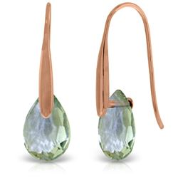 Genuine 6 ctw Green Amethyst Earrings Jewelry 14KT Rose Gold - REF-38H5X