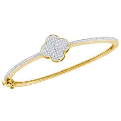 0.40 CTW Diamond Cluster Bangle Bracelet 10KT Yellow Gold - REF-71F9N