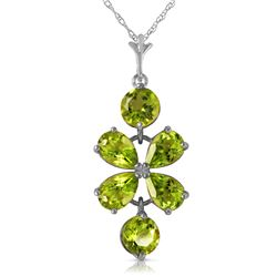 Genuine 3.15 ctw Peridot Necklace Jewelry 14KT White Gold - REF-30M3T